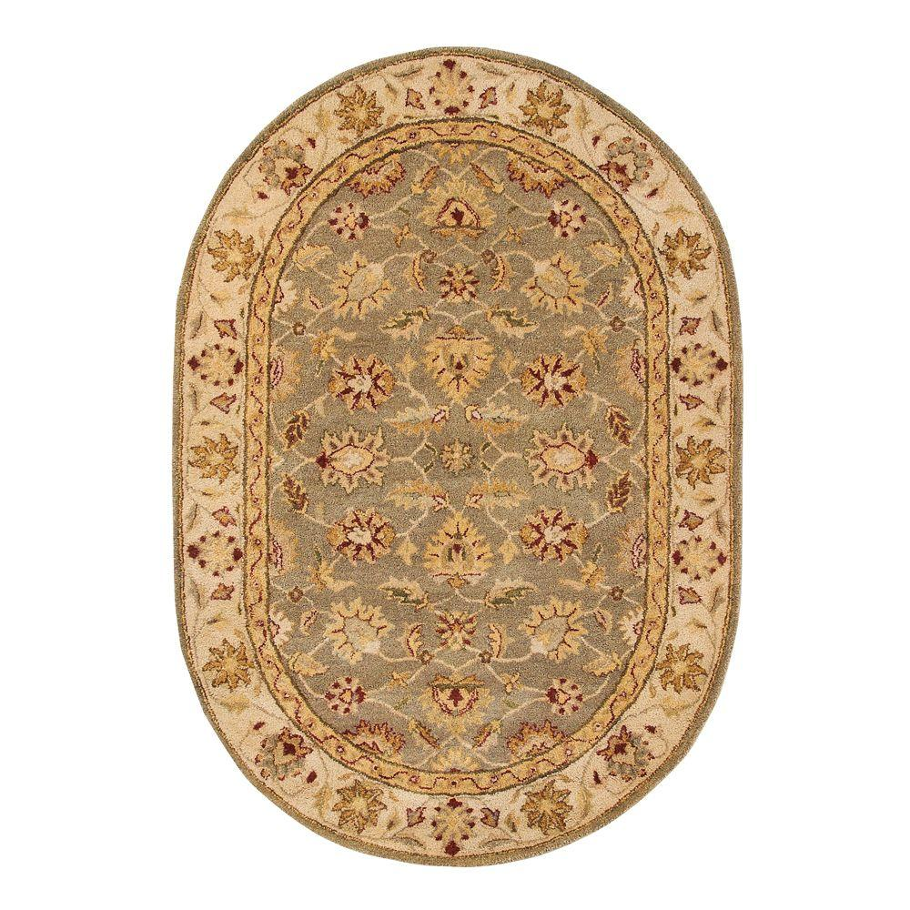 Home Decorators Collection Old London Green and Ivory 4 ft. 6 in. x 6 ft. 6 in. Oval Area Rug