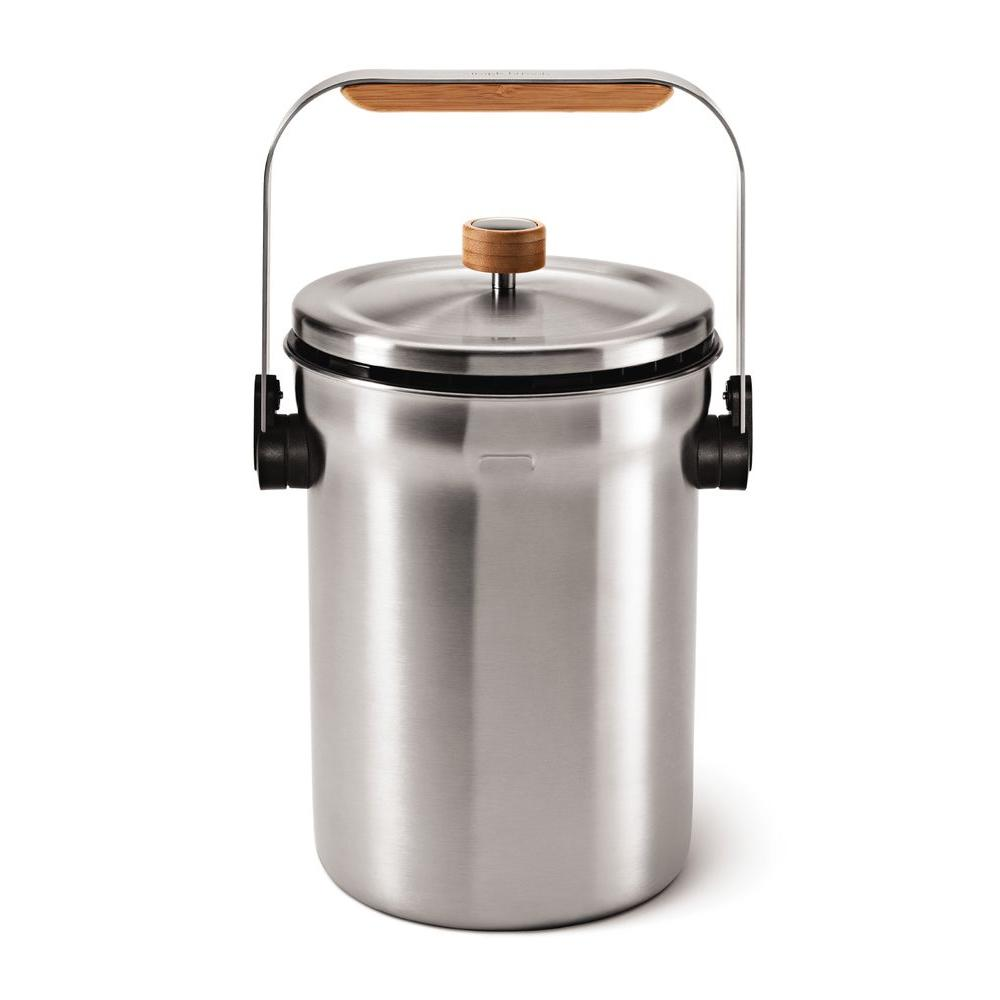 simplehuman Odor-Reducing Compost Pail in Brushed Stainless Steel-DISCONTINUED