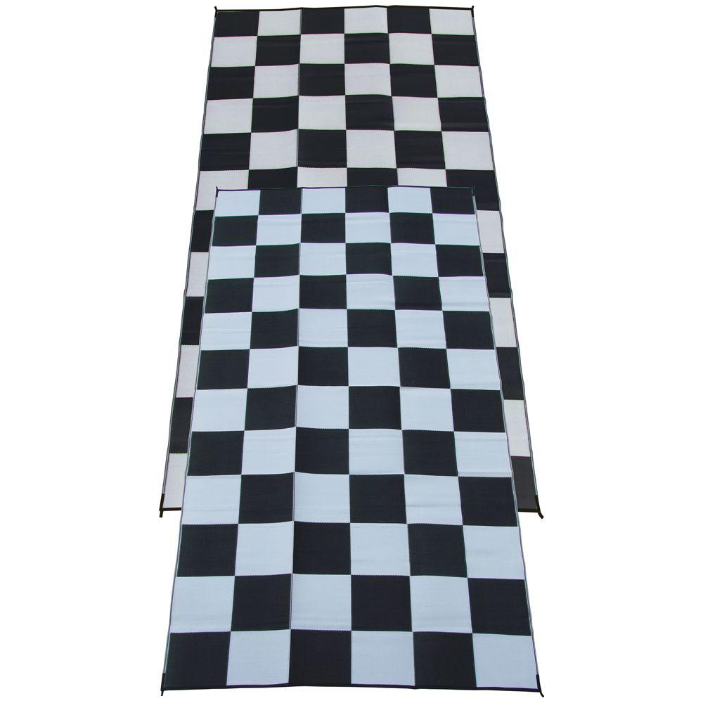 Fireside Patio Mats Racing Checks Black And White Checkered Flag 9 Ft. X 18  Ft
