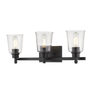 3-Light Matte Black Vanity Light with Clear Seedy Glass