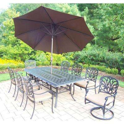 Cast Aluminum 11-Piece Rectangular Patio Dining Set with SpunPoly Beige Cushions and Umbrella