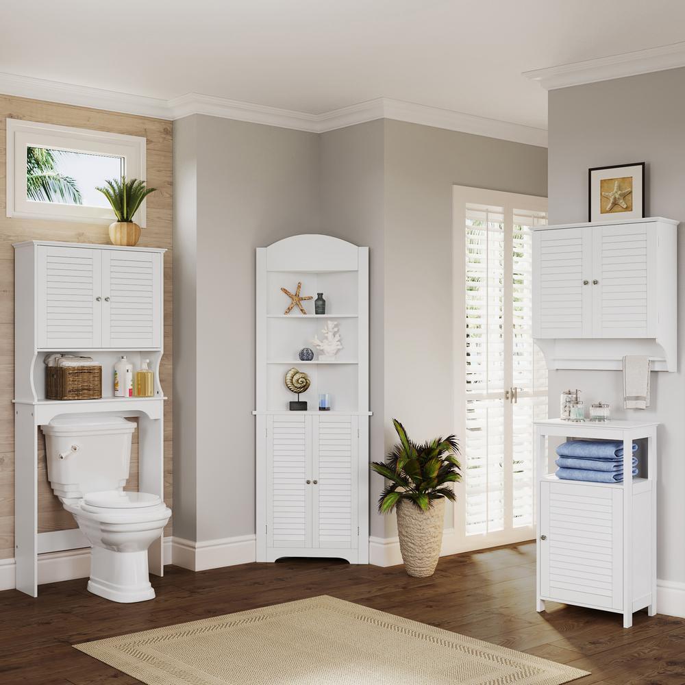 Riverridge Home Ellsworth 27 9 25 In W X 64 4 7 In H X 9 1 4 In D 2 Door Over The Toilet Storage Cabinet In White 06 031 The Home Depot