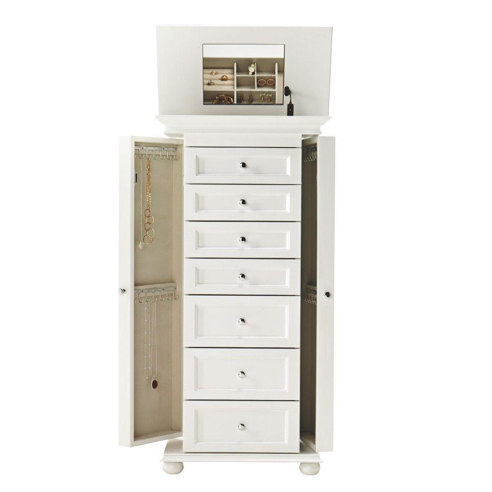 home decorators collection hampton harbor white jewelry armoire 4591540410 the home depot. Black Bedroom Furniture Sets. Home Design Ideas