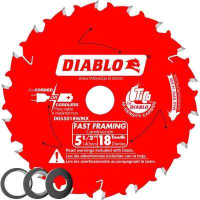 5-1/2 in. x 18-Tooth Fast Framing Saw Blade with Bushings