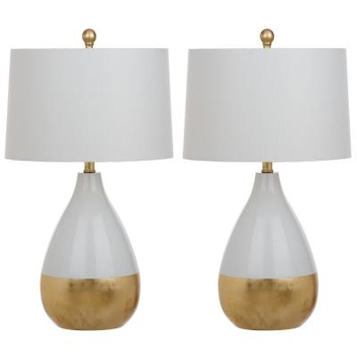 Kingship 24 in. White/Gold Gourd Table Lamp with Off-White Shade (Set of 2)