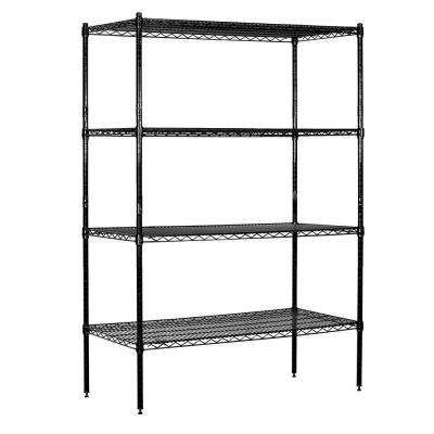 9600S Series 48 in. W x 74 in. H x 18 in. D Industrial Grade Welded Wire Stationary Wire Shelving in Black