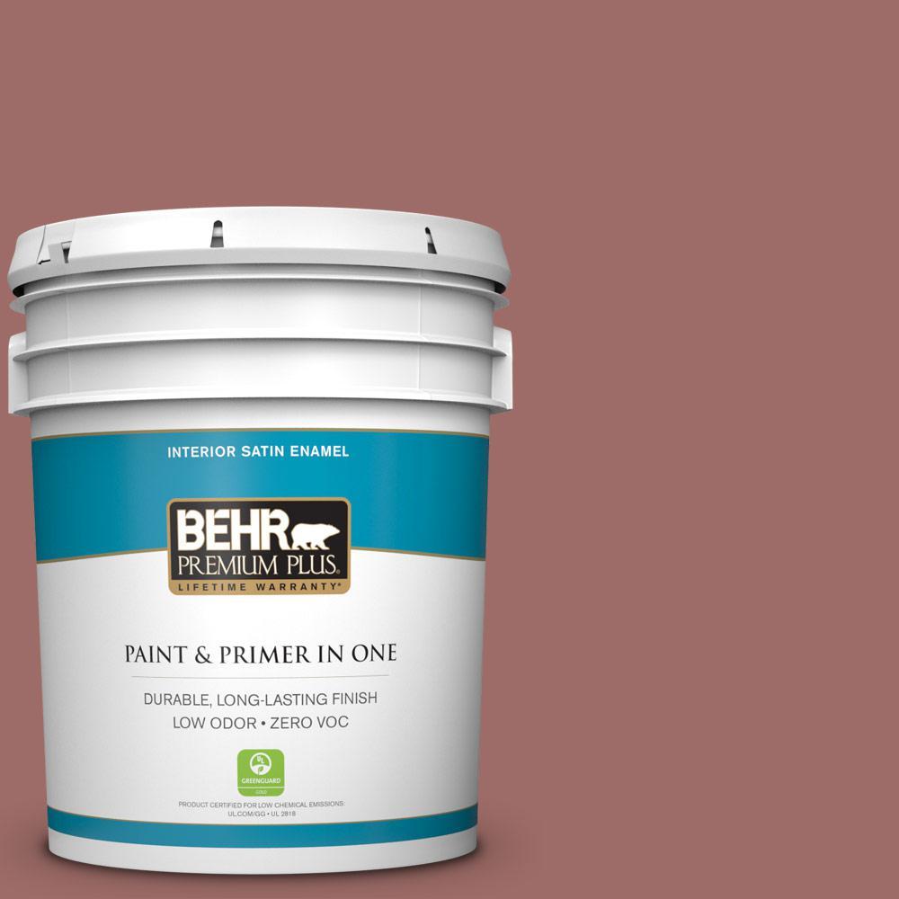 BEHR Premium Plus 5-gal. #190F-5 Brandy Zero VOC Satin Enamel Interior Paint