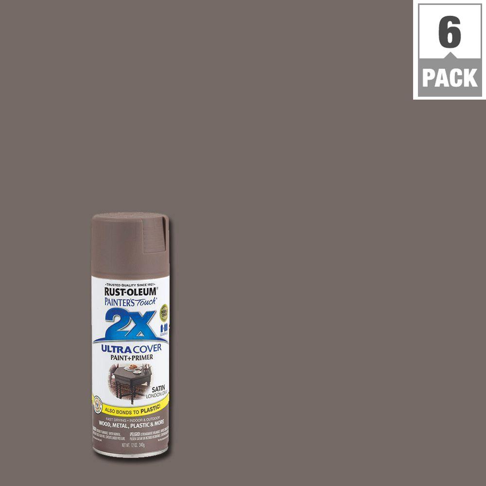 12 oz. London Gray Satin General Purpose Spray Paint (6-Pack)