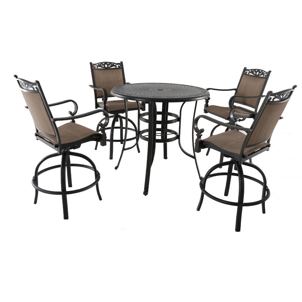 Tuscan Estate 5-Piece Aluminum Outdoor Bar Height Dining Set