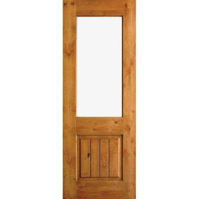 36 in. x 80 in. Rustic Half-Lite Clear Low-E IG Unfinished Wood Alder V-Grooved Left-Hand Inswing Prehung Front Door