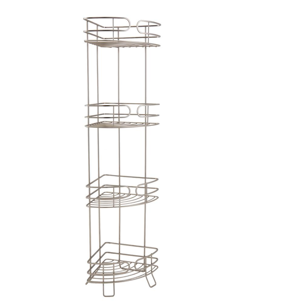 Bath Bliss Free Standing 4 Tier Corner Spa Tower in Satin