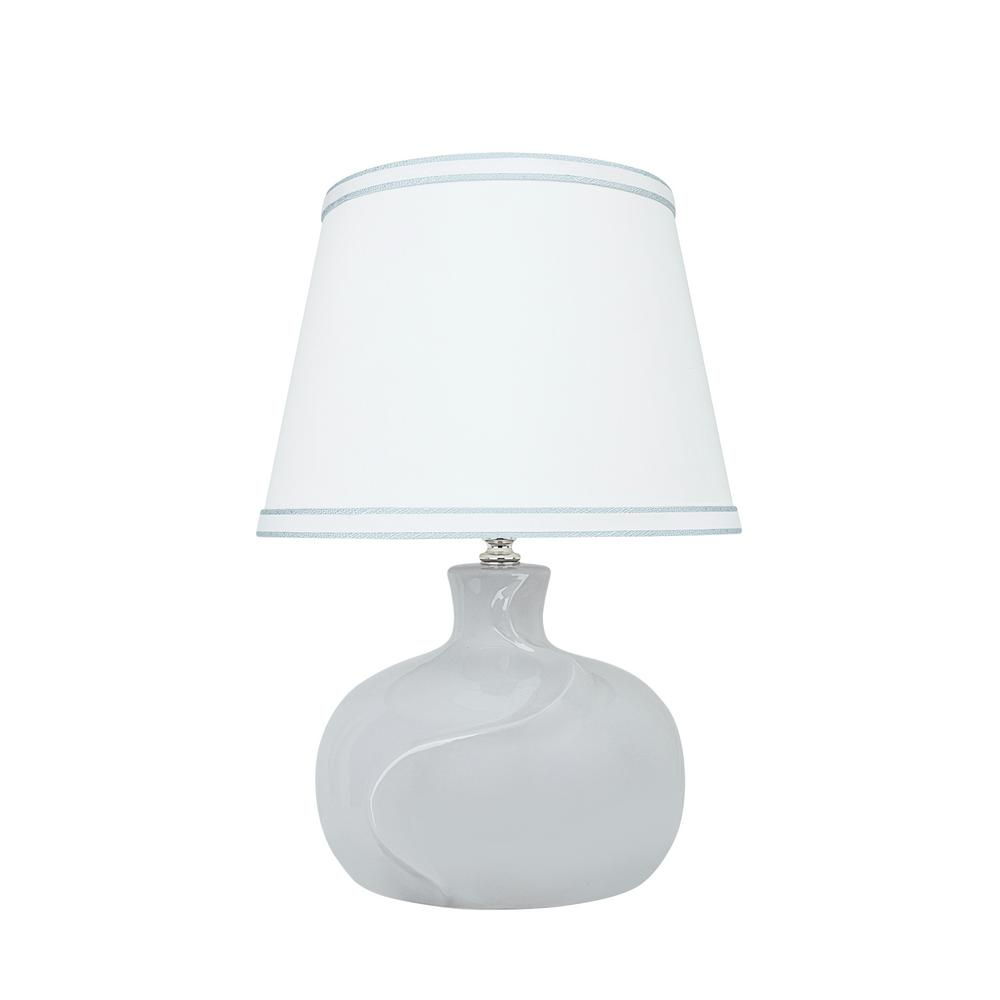 14-1/2 in. White Ceramic Table Lamp with Hardback Empire Shaped Lamp Shade in White