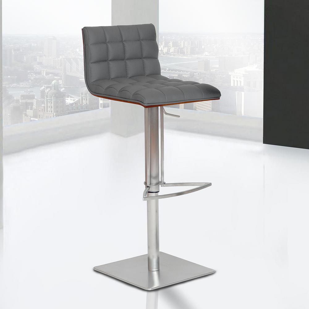 Armen Living Oslo 31 In. Gray Faux Leather And Brushed Stainless Steel  Finish Adjustable Barstool
