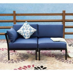 2-Piece Metal Outdoor Sectional Set with Blue Cushions