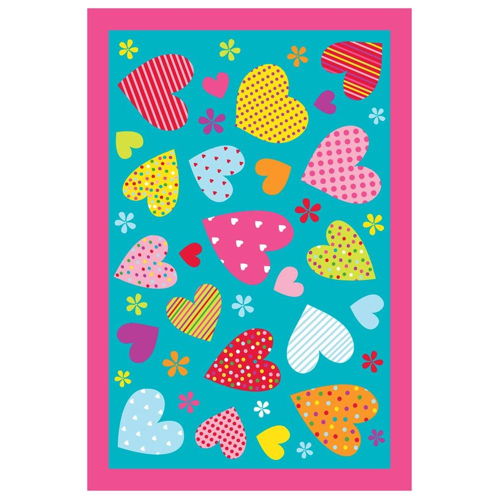 Fun Time Hearts Turquoise 39 in. x 58 in. Area Rug