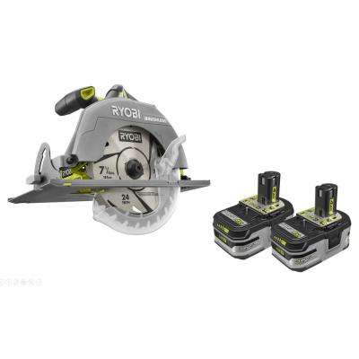 18-Volt ONE+ Cordless Brushless 7-1/4 in. Circular Saw wi/Lithium-Ion LITHIUM+ HP 4.0 Ah High Capacity Battery (2-Pack)