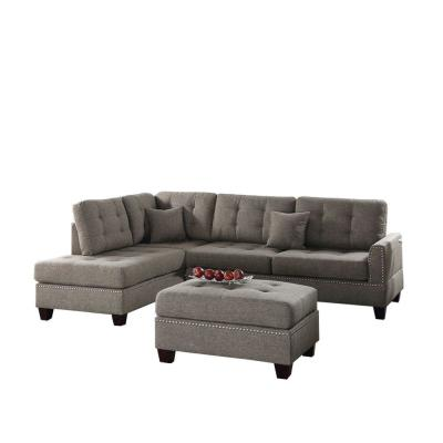 3-Piece Light Brown Fabric 4-Seater L-Shaped Sectional Sofa with Wood Legs