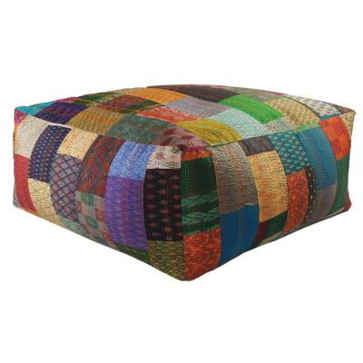 Kantha Patchwork Multi-Colored Oversize Pouf Ottoman
