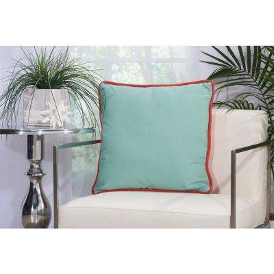 2 Sided Solid Corded 20 in. x 20 in. Coral and Aqua Indoor and Outdoor Pillow