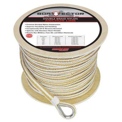 BoatTector 1/2 in. x 250 ft. Double Braid Nylon Anchor Line with Thimble in White and Gold