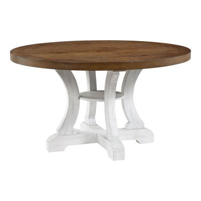 Wicks 54 in. Distressed White and Dark Oak Wood Round Dining Table