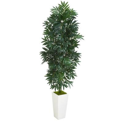 Indoor 5 ft. Bamboo Palm Artificial Plant in White Planter