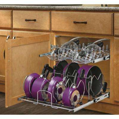 18.13 in. H x 20.75 in. W x 22 in. D Pull-Out Two-Tier Base Cabinet Cookware Organizer with Soft-Close Slides