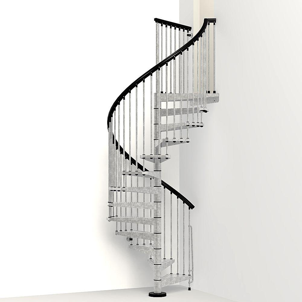 Arke enduro 63 in galvanized steel spiral staircase kit for Square spiral staircase plans hall