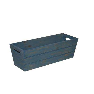 16 in. Patio Wood Planter in Blue
