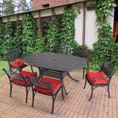 Aphrodite 7-Piece Aluminum Outdoor Dining Set with Red Cushion