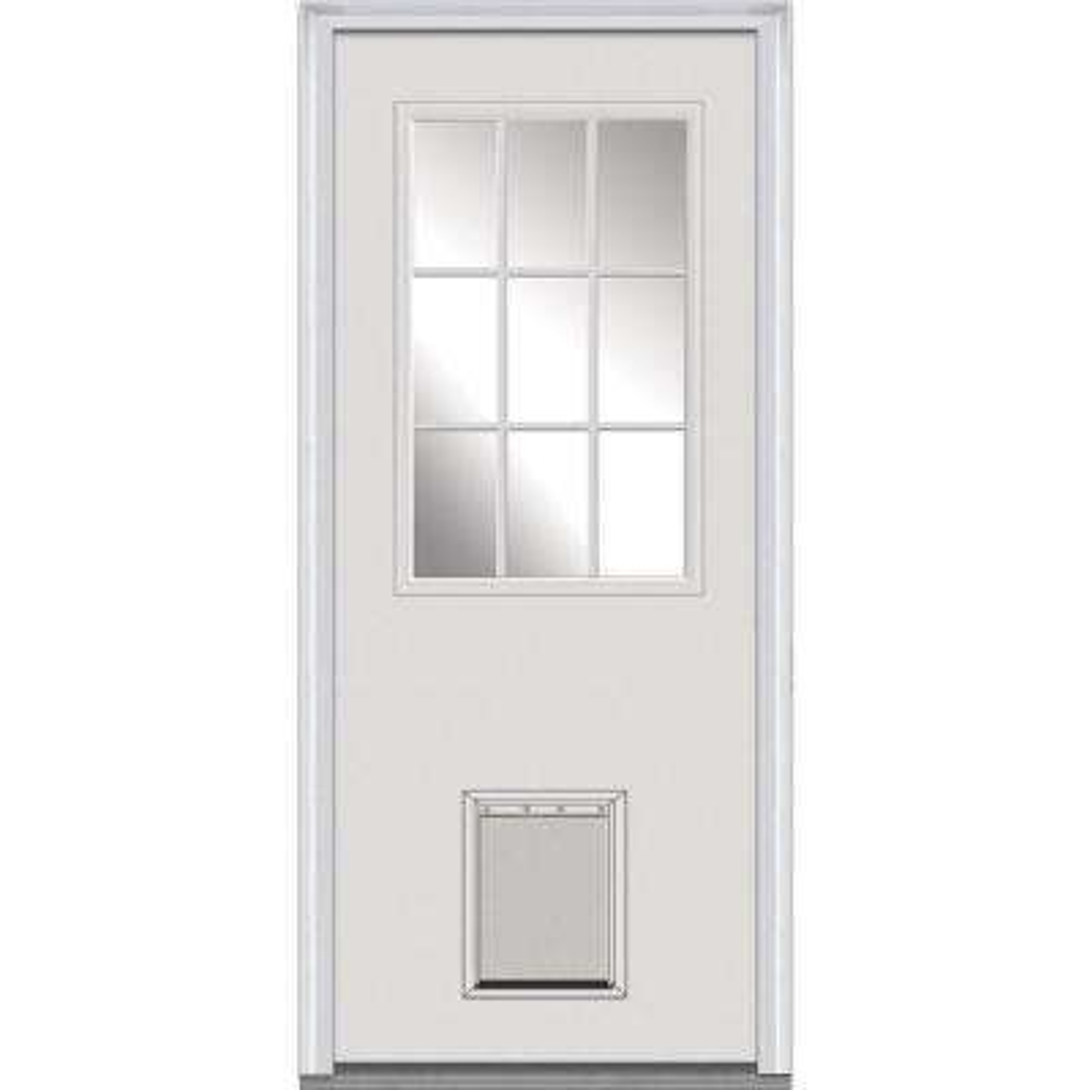 30 in. x 80 in. Classic Right-Hand Inswing 1/2-Lite Clear Primed Fiberglass Smooth Prehung Front Door with Pet Door