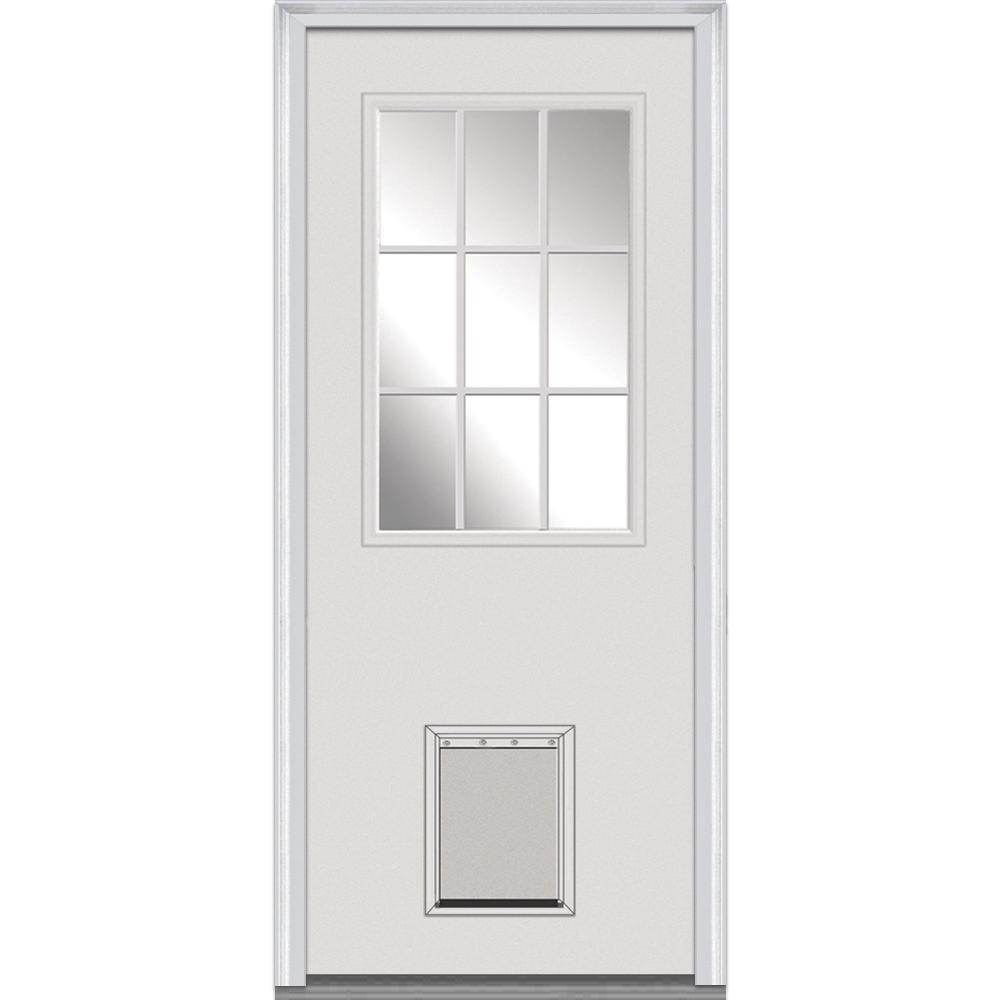 32 in. x 80 in. Clear Right-Hand 1/2 Lite Classic Primed Fiberglass Smooth Prehung Front Door with Pet Door