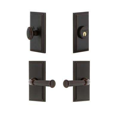 Carre Plate 2-3/8 in. Backset Timeless Bronze Georgetown Door Lever with Single Cylinder Deadbolt