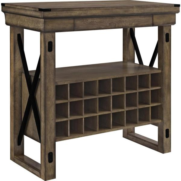 Ameriwood Forest Grove 24-Bottle Rustic Gray Wood Veneer Bar Cabinet HD74334