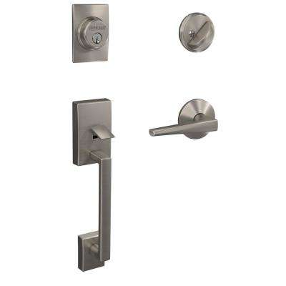 Custom Century Satin Nickel Single Cylinder Door Handleset with Eller Lever