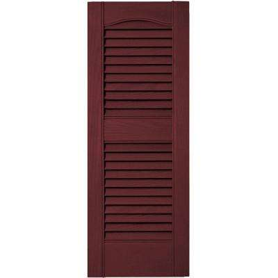 12 in. x 31 in. Louvered Vinyl Exterior Shutters Pair in #078 Wineberry