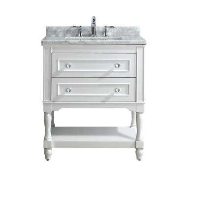 Cape Cod 30 in. W Single Bath Vanity in White with Marble Vanity Top in Carrara White with White Basin