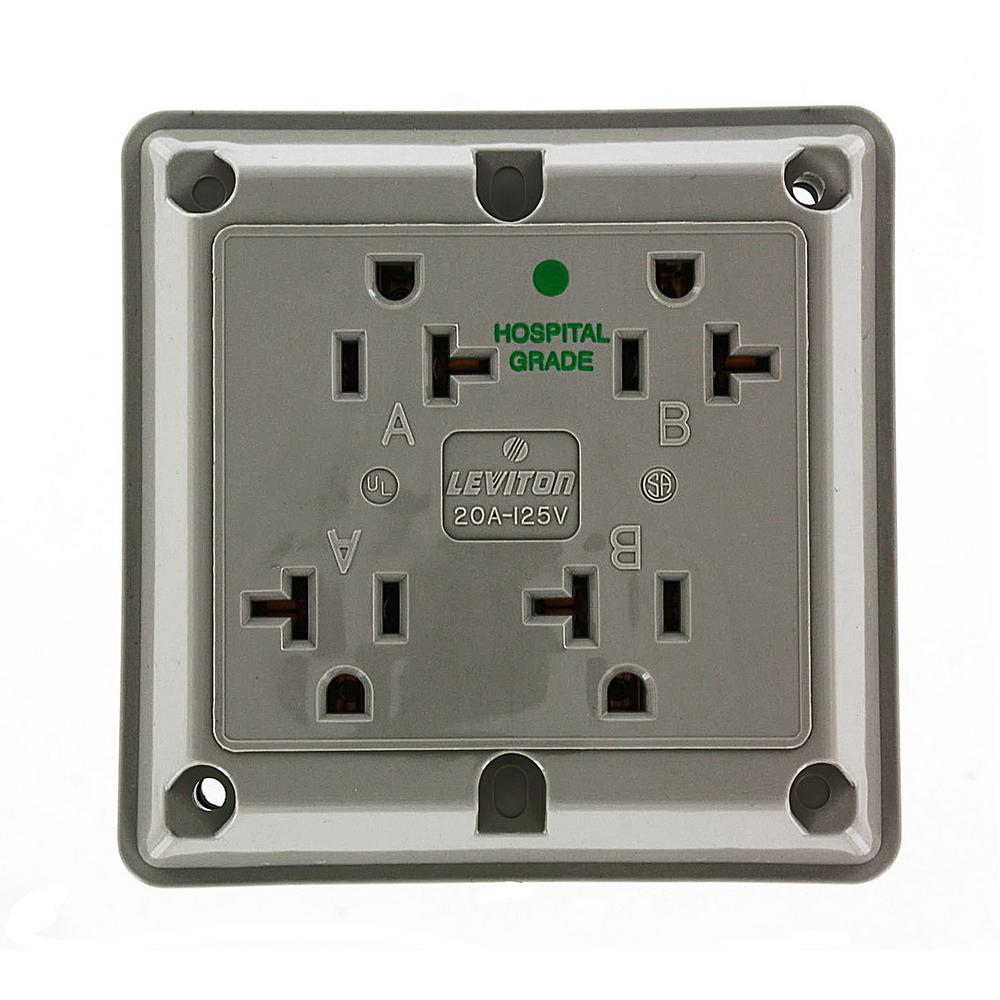 20 Amp Hospital Grade Extra Heavy Duty Grounding 4-in-1 Outlet, Gray