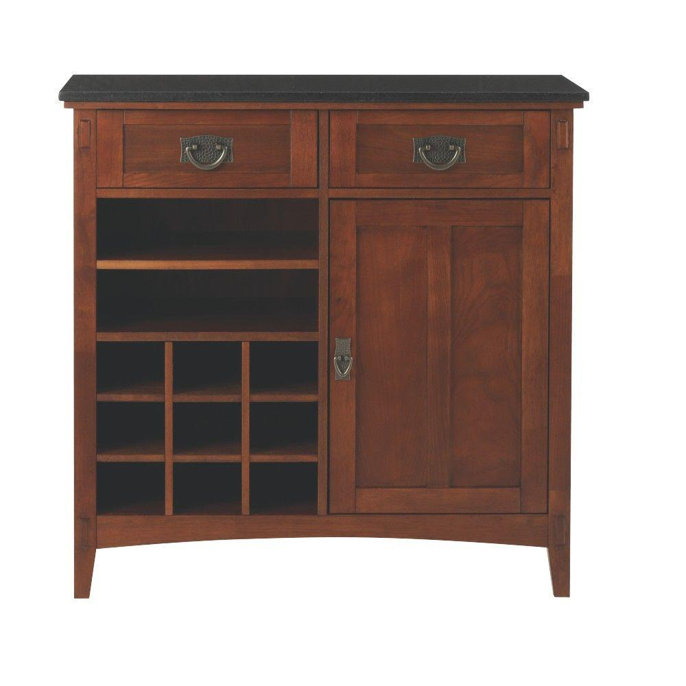 Home Decorators Collection Artisan 36 in. W 2-Drawer Bar Cabinet in Medium Oak