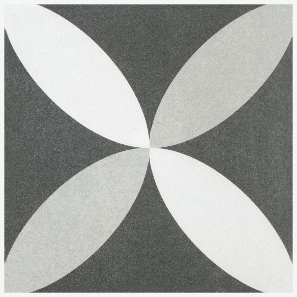 Twenties Petal Encaustic 7-3/4 in. x 7-3/4 in. Ceramic Floor and Wall Tile