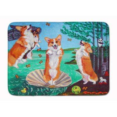 19 in. x 27 in. Corgi Birth of Venus Machine Washable Memory Foam Mat