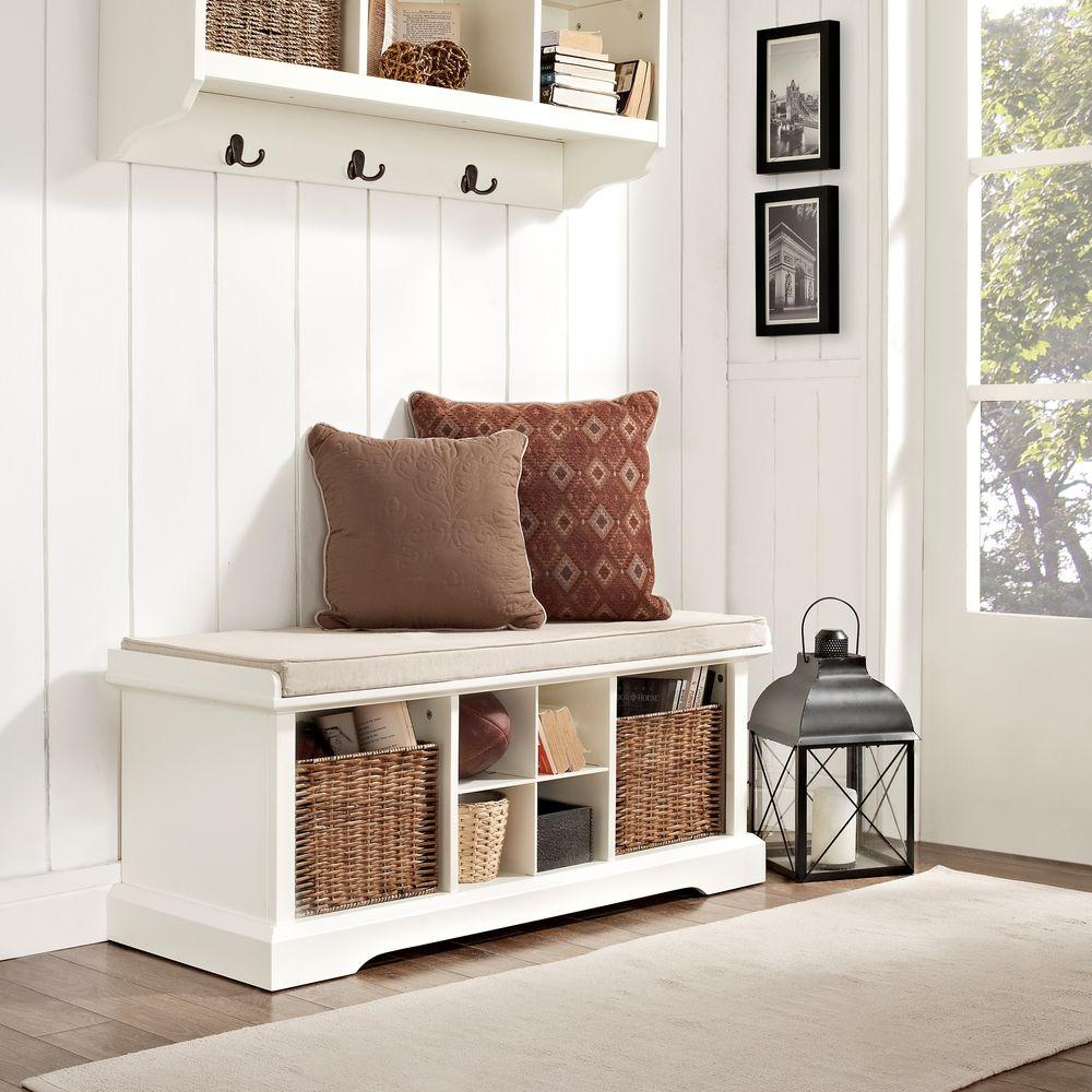 Cool Crosley Brennan Entryway Storage Bench In White Cf6003 Wh Creativecarmelina Interior Chair Design Creativecarmelinacom