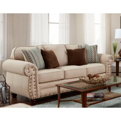 Abington Sand Sofa with Nail Head Accents