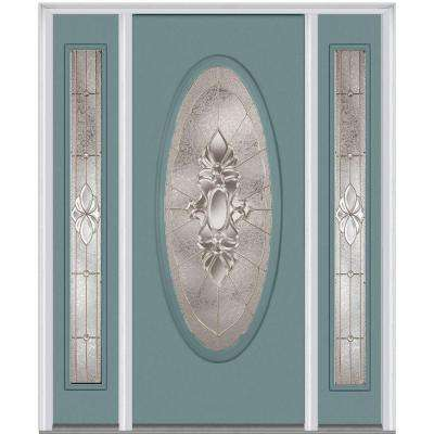 60 in. x 80 in. Heirloom Master Right-Hand Inswing Oval Lite Decorative Painted Steel Prehung Front Door with Sidelites