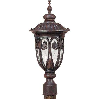 1-Light Outdoor Burlwood Mid-Size Post Lantern with Seeded Glass
