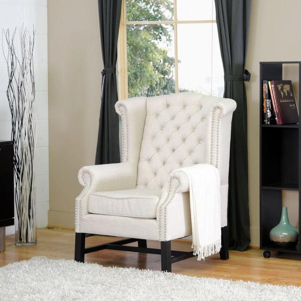 Baxton Studio Sussex Beige Fabric Upholstered Accent Chair 28862-3764-HD