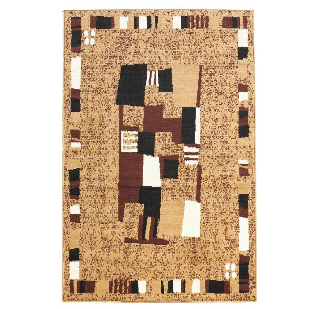 Linon Home Decor Capri Collection Beige and Brown 4 ft. 3 in. x 7 ft. 3 in. Indoor Area Rug