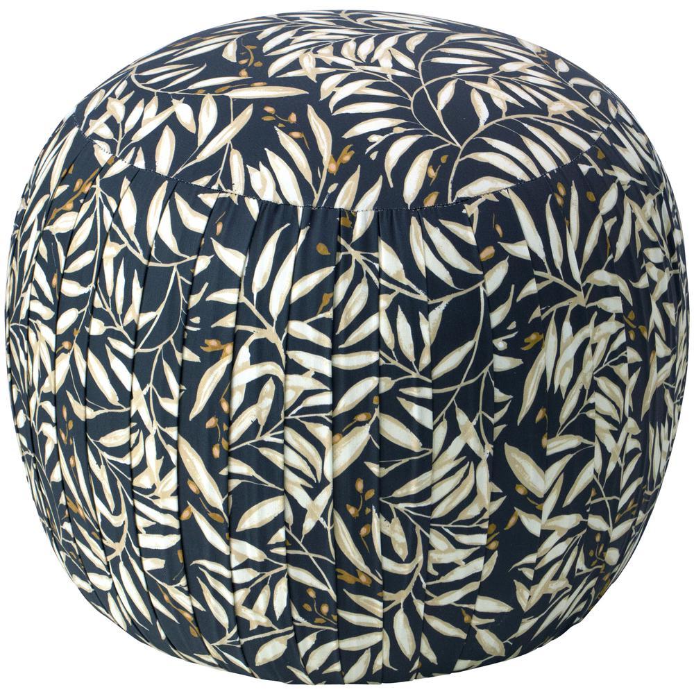 Voysey Vine Navy Cream Round Shirred Ottoman