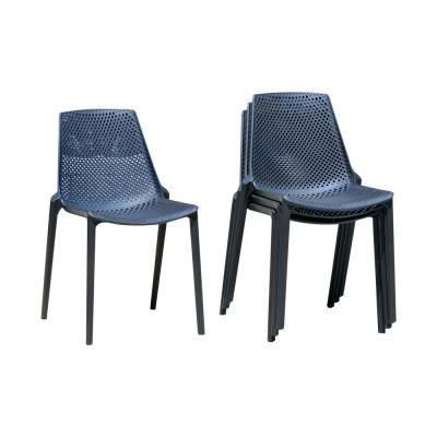 Bilbao Stackable Plastic Outdoor Dining Chair in Grey (4-Pack)