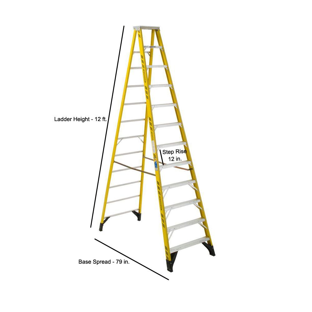 Werner 12 Ft Yellow Fiberglass Step Ladder With 375 Lbs Load Capacity Type Iaa Duty Rating 7312 The Home Depot